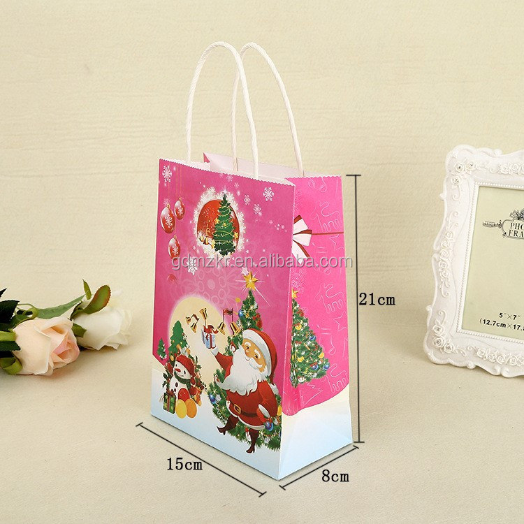 Customized recycled paper craft gift bags for christmas