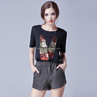 Bead piece with the lipstick pattern printed loose tops summer fitness women blouses for wholesale