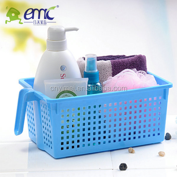 Bathroom With Handle Plastic Storage Basket