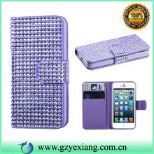 Hot Selling Bling Wallet Case For Iphone 5 Crystal Leather Phone Case