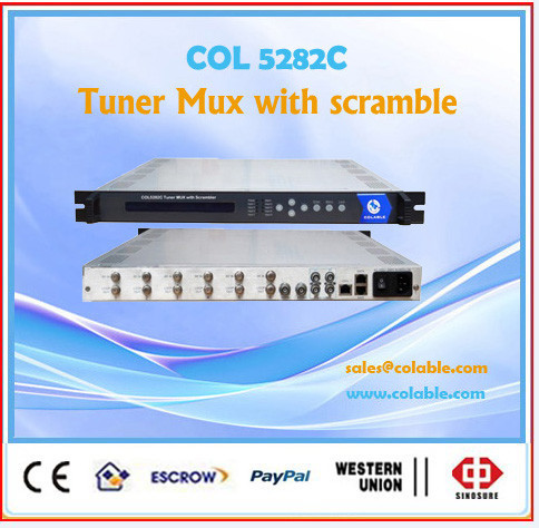 (6tuner +2asi)/8asi inputs multiplexing and scrambling device, (4 simulcrypt CAS ) Scrambler multiplexer 2asi/ip udp out