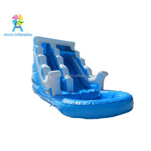 0.55MM PVC Giant Kids Wave Inflatable Slide,Inflatable Water Slide With Pool For Sale