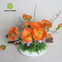 Artificial poppy flowers decoration silk poppy in pot wholesale