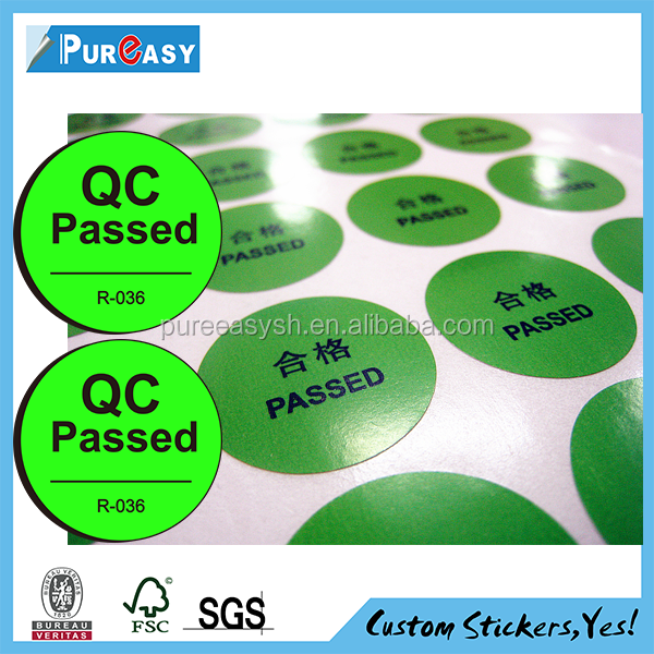 Custom adhesive QC pass sticker label printing in roll