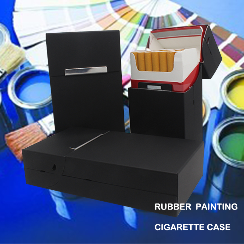 Holds 20 Cigarettes,Personality Rubber Painting Cigarette Case Vogue Cover Plastic Portable Man/Women Cigarette Box