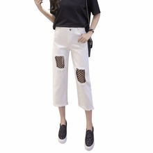 Fashion nine points cropped black grenadine cutting blank casual ladies pants trousers