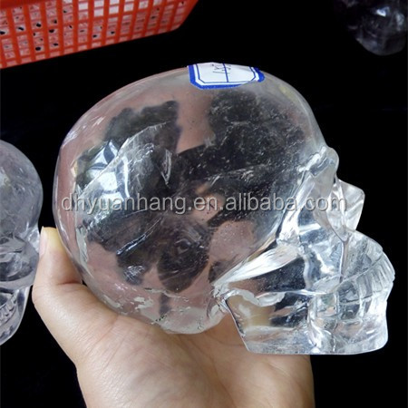 hand carved rock quartz skulls,clear crystal carved skulls heads
