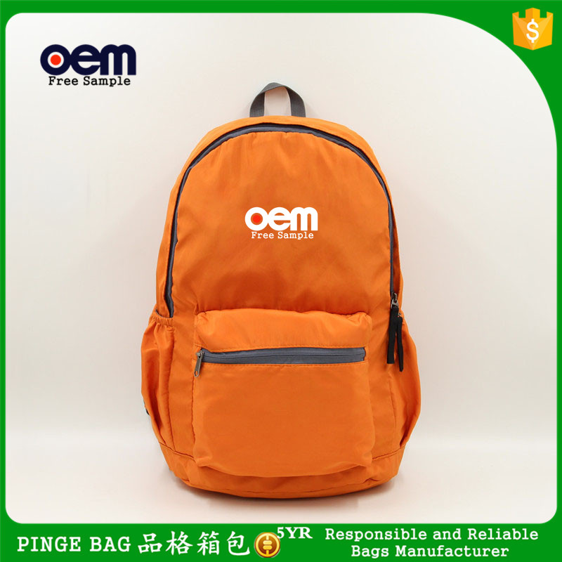 Factory Custom High Quality Unisex Fashion Backpack Bag Orange Waterproof Nylon Travel Bag Lightweight 210D Foldable Backpack
