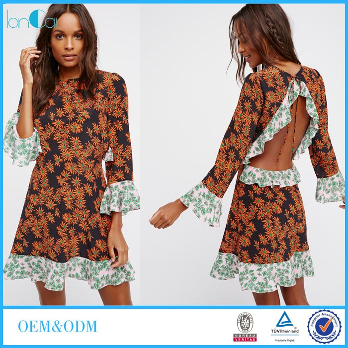 African Kitenge Dress Designs Latest Woman Summer Flared Sleeve Traditional African Dashiki Print Dress LC8487-N