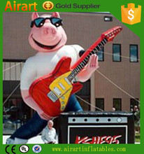 customized inflatable pig cartoon character balloon with guitar for outdoor concent decoration