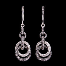 Wholesale fashion jewellery antique Black Crystal diamond silver gold long dangling dangler dangle earrings for ladies bulk