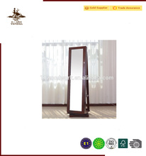 Rotating Mirrored Wooden Jewelry Display Cabinet