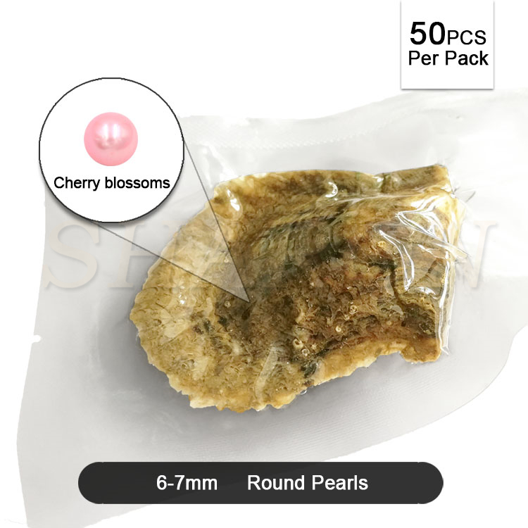 Bulk Wholesale 6-7mm Vacuum-packed Cherry Blossoms Cultured Round Akoya Pearl Oyster