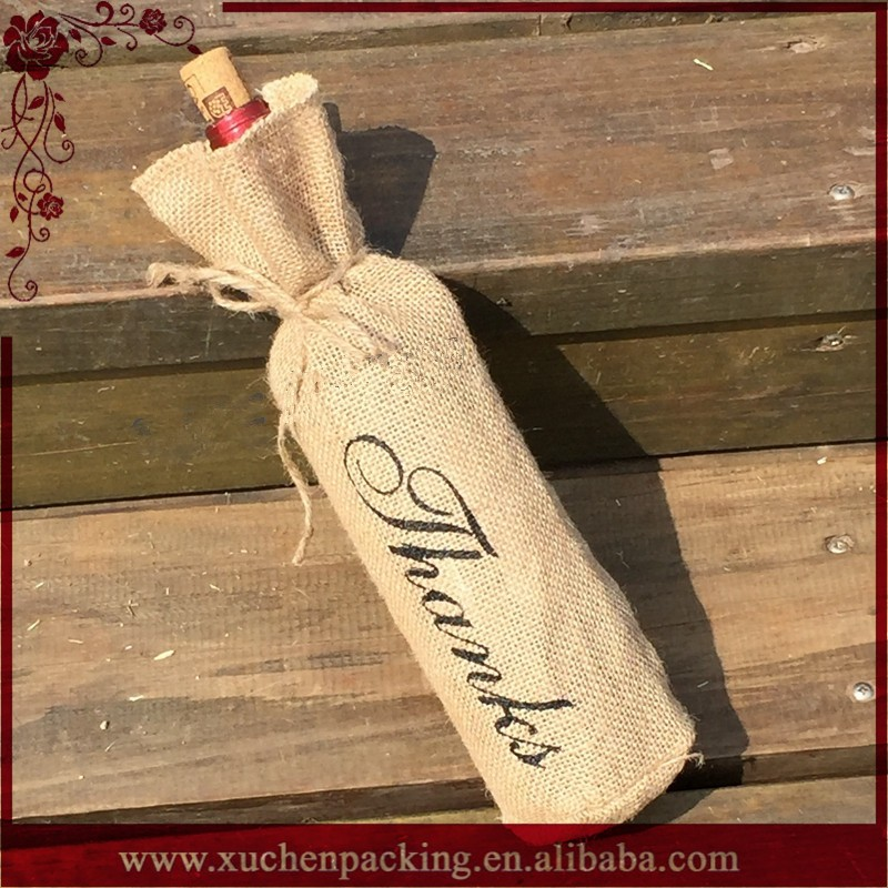 Wedding Gift Packaging Burlap Hessian Jute Wine Bottle Bag