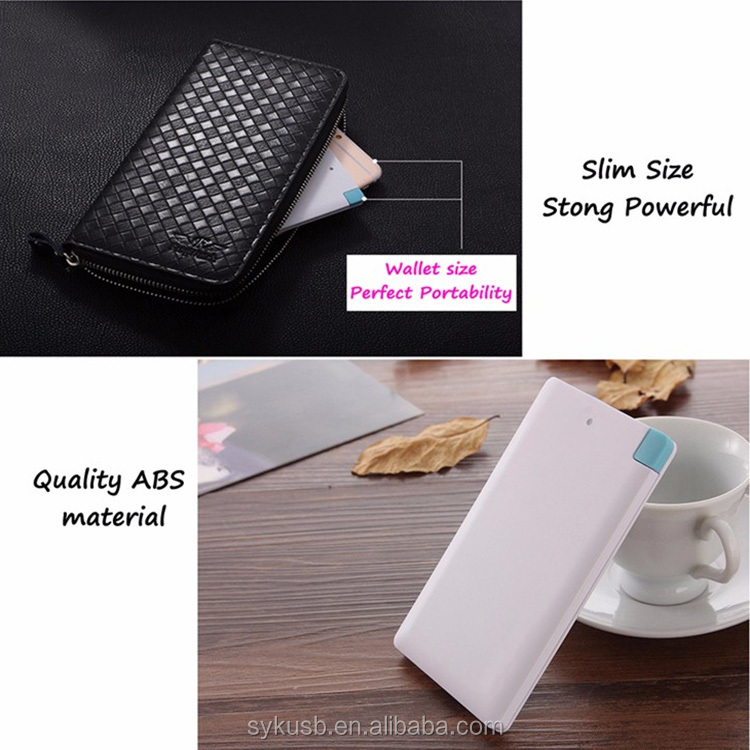 Slim Credit Card Size Power Bank with Cable
