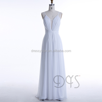 Simple Sexy Design White Flowing Chiffon Casual Beach Wedding Dress