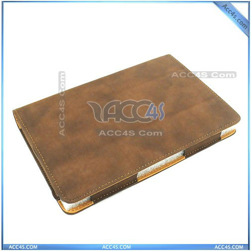 Top-Selling Brown Sanding 3 folding Leather case for Play Book, P-BBPLAYBOOKCASE006
