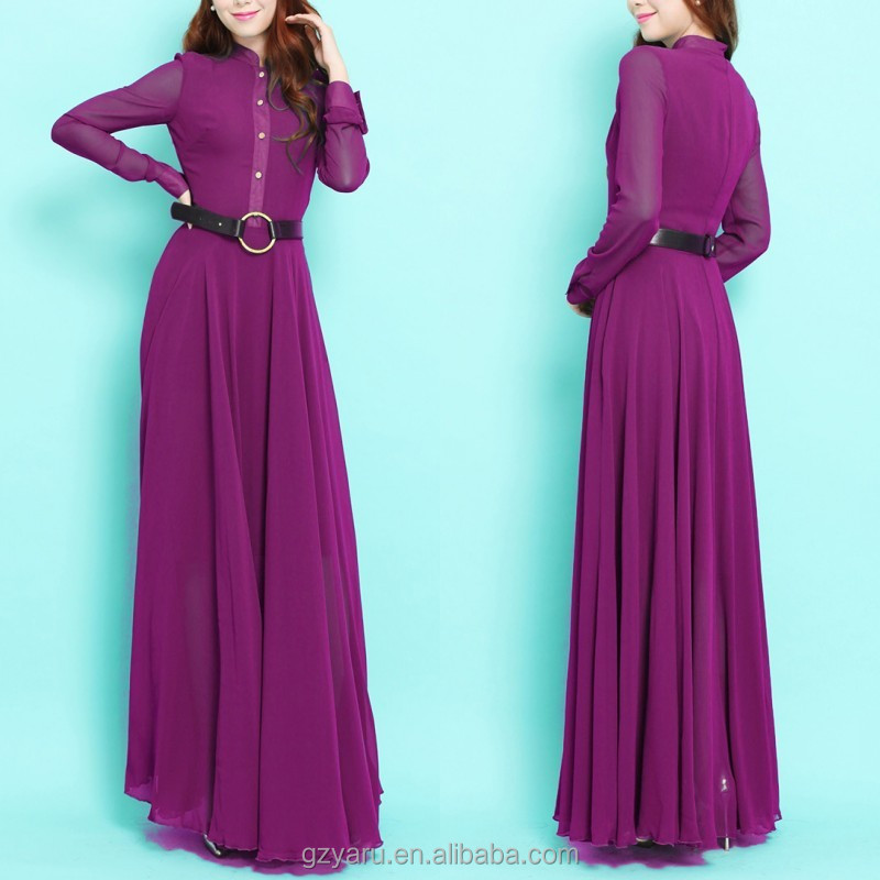 Purple long sleeve shirt dresses designs maxi dresses long sleeve from india