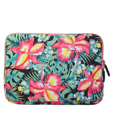 Flowers design canvas fabric ladys laptop notebook computer bag sleeve