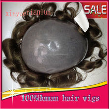 Hot Selling Human Hair Full Pu Thin Skin Men Toupee