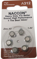 A312 zinc air hearing aid battery 1.4V button cell battery hg