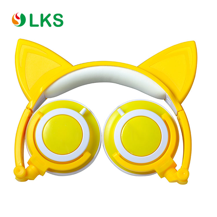 Wholesale colorful rechargeable led glowing cat ear headphones earphone
