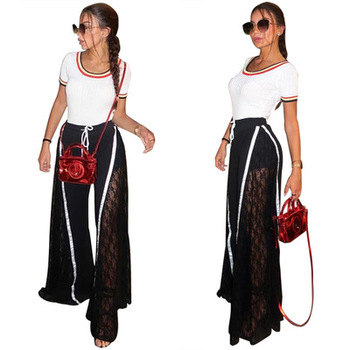 Lace high waisted women wide leg pants trousers