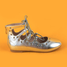 Flat Silver Metallic Leg Tie Boots Sandals for Teenage Girls