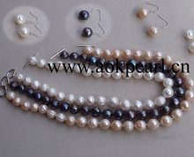 Silver & 12-14mm Near Round Big Pearl Set