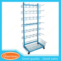 baskets and hooks wire floor metal display stand for sweets and candy