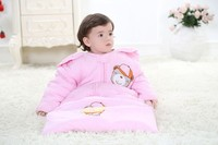 Cute baby sleeping bag Sleeves removable zipper solid animal embrodery pink/blue 3pcs/lot