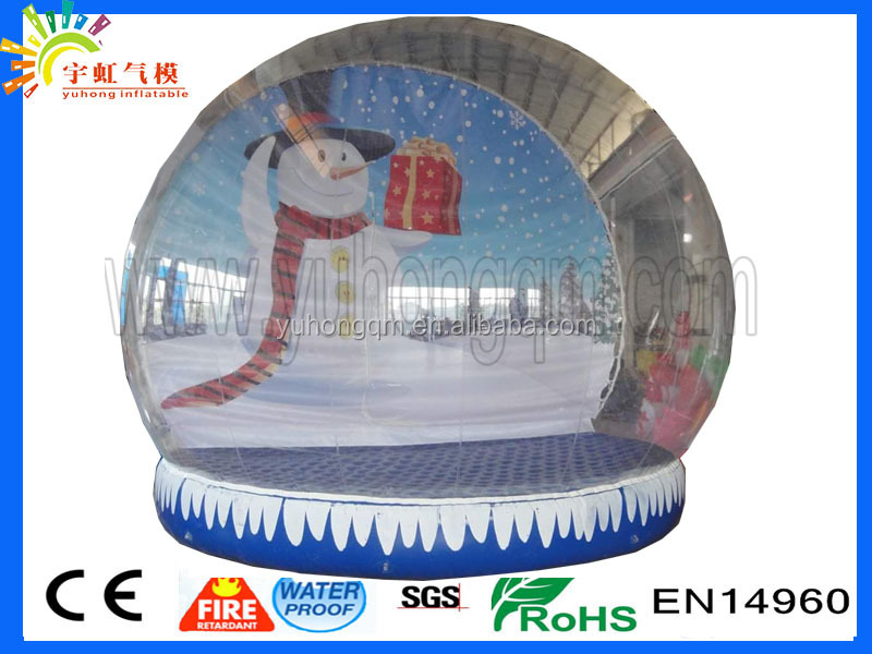 New winter snowman transparent tent pvc inflatable dome tent large inflatable tent