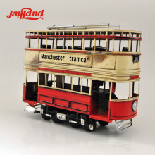 Classic handmade metal double decker bus model for decorative items, happy birthday gifts