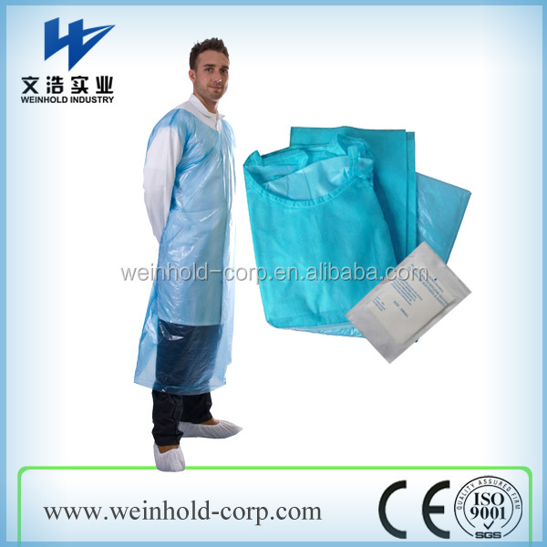 Disposable household PE, CPE smock water/oil/blood proof