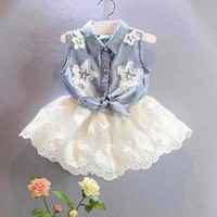 ca20028 korean style two piece cheap summer girl denim top suit