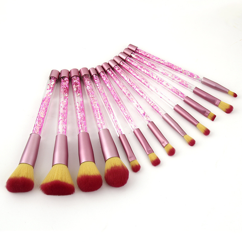 Pink Glitter Foundation Brush Eyeshadow Private label Blending Brushes 12PCS/Set Crystal Glitter Makeup Brushes