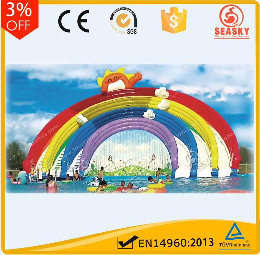 Amusement game adult inflatable rainbow water park slides for sale