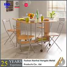 Hygena Wooden Space Saver Table and 4 Chocolate Chairs