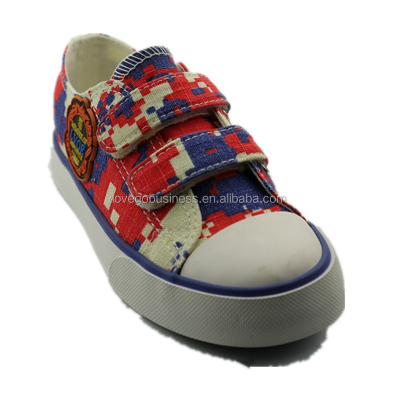 Girls boys wholesale Europe style colorful print canvas casual board shoes children sneakers footwear for kid