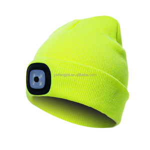 Knitted Beanie with LED flashlight beanie winter hat headlamp