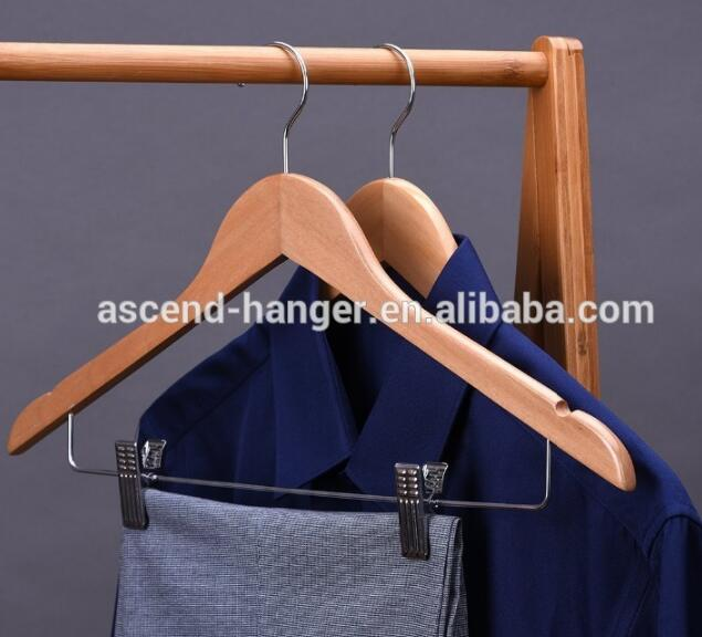 Mahogany Wooden Suit/Coat Hanger With Locking Bar and clips