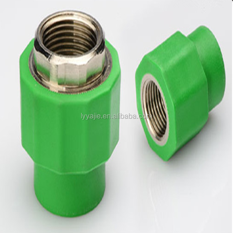 Plastic pipe fittings ppr green female threaded quick