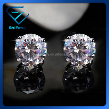 Platinum Plated 925 Silver Single Stone Design Old Model Earrings