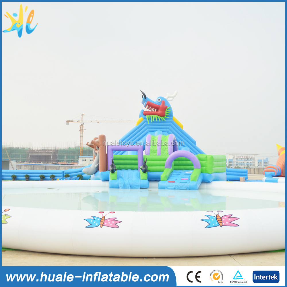 2016 Hot Commercial Giant Dragon inflatable water slide with swimming pool