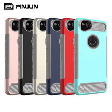 Luxury pc tpu combo carbon fiber armor case for google pixel 2 mobile back cover