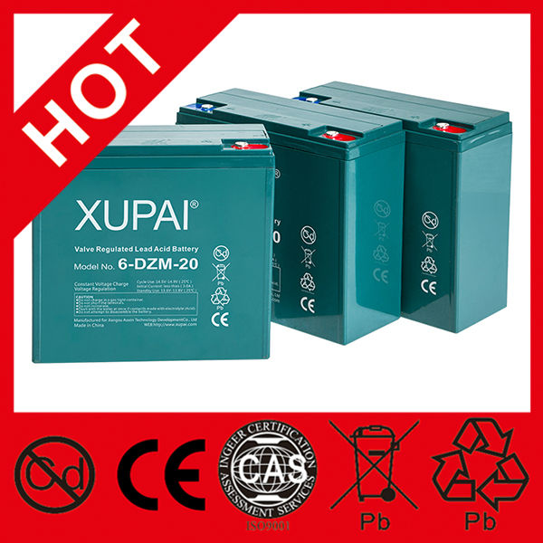 Lead acid gel battery xupai 12v 20ah battery for e-bike