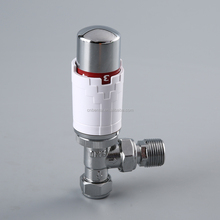 chrome plating copper angular valve with energy saving thermostatic radiator head or cap
