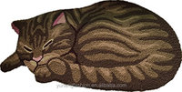 3D Embroidery Cute Sleeping Cat Shaped Bedroom Area Rug Tabby Cat carpet