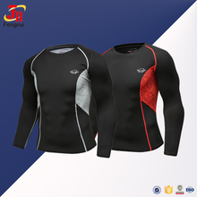Wholesale Slim Fit Gym T Shirt Long Sleeve Quick Dry Compression Shirt Rash Guard for men