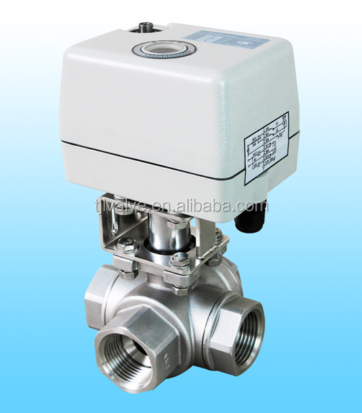 3 Ways Ball Valve with Electric Actuator